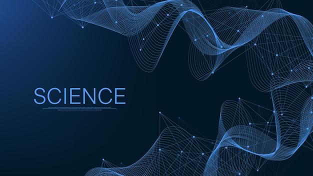 Абстрактный фон сплетения с подключенными линиями и точками. геометрический эффект сплетения. визуализация цифровых данных. футуристический технологический стиль low-poly элемент дизайна. векторная иллюстрация.