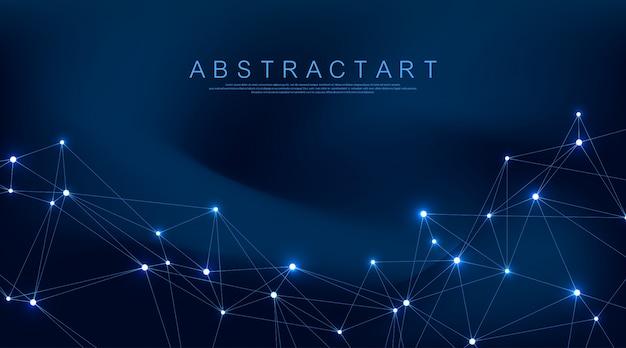 Абстрактный фон сплетения с подключенными линиями и точками. геометрический эффект сплетения. визуализация цифровых данных. футуристический стиль технологии низкополигональный элемент дизайна.