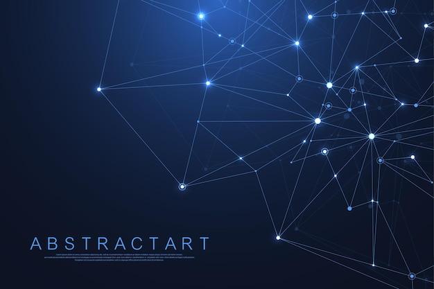 Абстрактный фон сплетения с подключенными линиями и точками. геометрический эффект сплетения. визуализация цифровых данных. низкополигональный элемент дизайна в футуристическом стиле. .