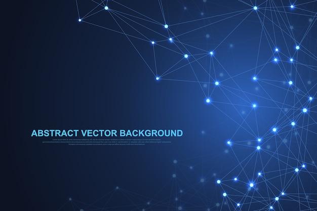 接続された線と点を持つ抽象的な神経叢の背景。プレクサスの幾何学的効果。