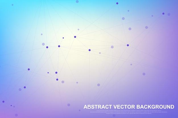 Абстрактный фон сплетения со связанными линиями и точками. волновой поток. геометрический эффект сплетения большие данные с соединениями. сплетение линий, минимальный массив. визуализация цифровых данных. векторная иллюстрация.
