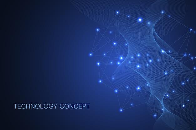 接続された線と点を持つ抽象的な神経叢の背景。