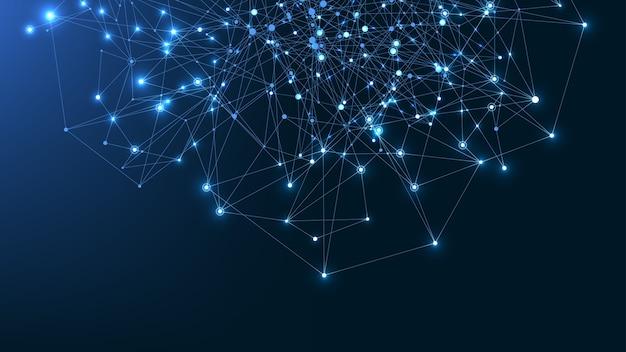 接続された線と点を持つ抽象的な神経叢の背景