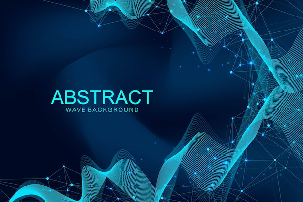 Abstract plexus background with connected lines and dots wave flow plexus geometric effect big data ...