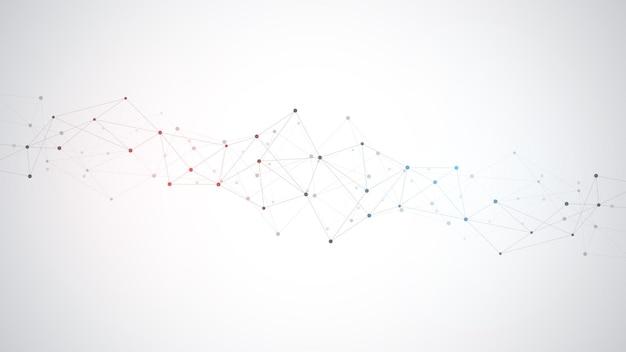 점과 선을 연결하는 추상 신경총 배경. 글로벌 네트워크 연결, 디지털 기술 및 통신 개념.