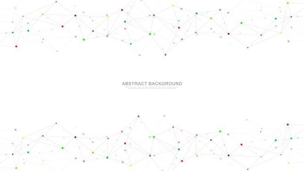 Abstract plexus background with connecting dots and lines. Premium Vector