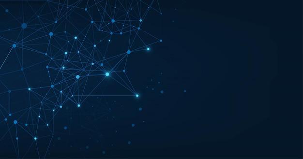 Абстрактное сплетение синих геометрических фигур. подключение и веб-концепция. цифровая, связь и технологии сети фон с движущимися линиями и точками. иллюстрации.