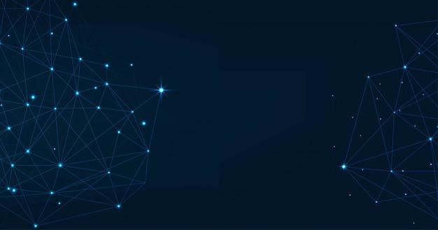 Абстрактное сплетение синих геометрических фигур. подключение и веб-концепция. цифровая, связь и технологии сети фон с движущимися линиями и точками.