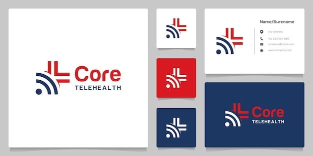 Abstract plus cross medical and wifi wireless logo design with business card