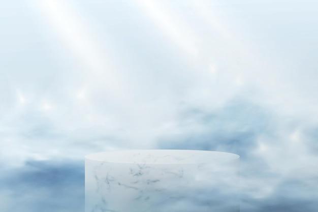 파란색 배경에 추상 연단입니다. 파스텔 색상의 구름에 화장품을 보여주는 대리석 빈 플랫폼이있는 현실적인 장면.