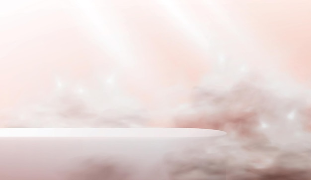 Abstract podium on a pink background. a realistic scene with an empty cosmetics showcase in the clouds in pastel colors.
