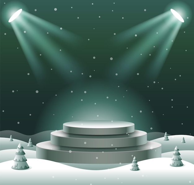 Abstract podium show product display, christmas, happy new year