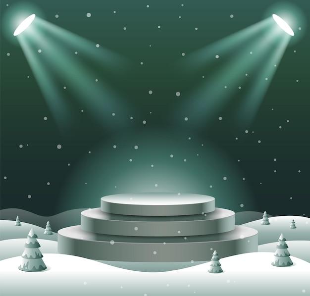 抽象表彰台ショー製品ディスプレイ、クリスマス、明けましておめでとうございます