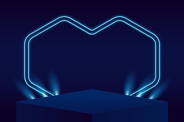 Abstract podium with lights
