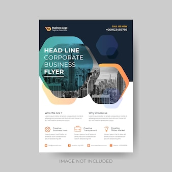 Abstract poligon shaped modern corporate business flyer design