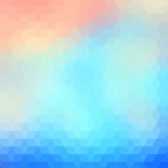 Abstract polygonal background in light blue and red tones