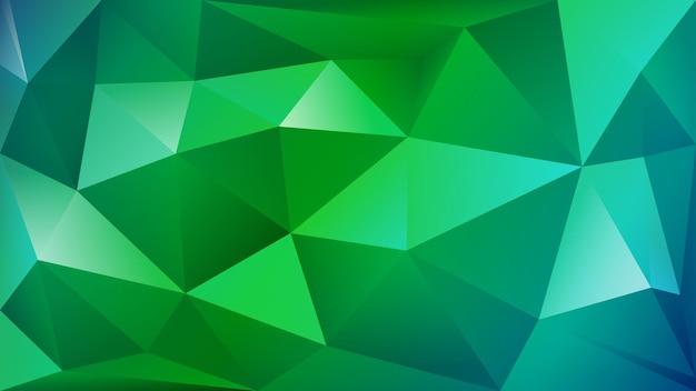 Abstract polygonal background of many triangles in green and light blue colors