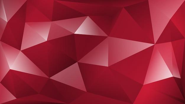 붉은 색에 많은 삼각형의 추상 다각형 배경