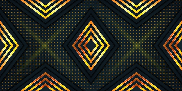 Abstract polygonal background. square and dot pattern with gold color. modern geometric background