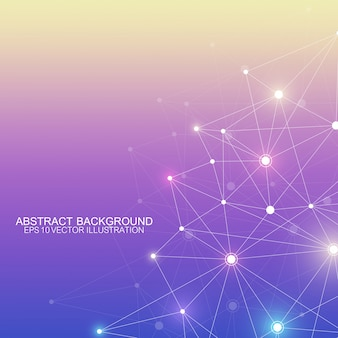 接続された直線と点と多角形の抽象的な背景。ミニマルな幾何学模様。分子構造とコミュニケーション。グラフィック神経叢の背景。科学、医学、技術の概念。