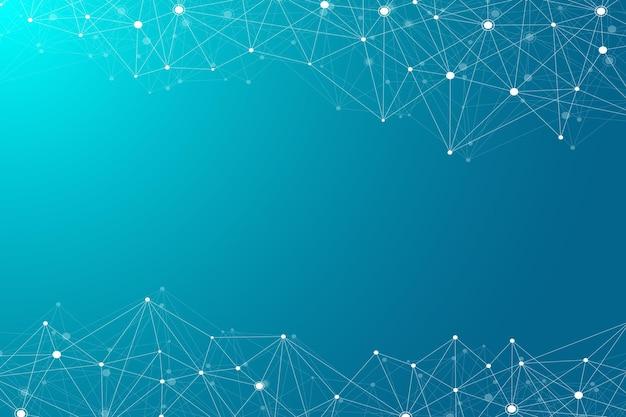 接続された線と点を持つ抽象的な多角形の背景。ミニマルな幾何学模様。分子構造とコミュニケーション。グラフィック神経叢の背景。科学、医学、技術の概念。