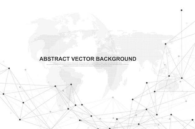 接続された線と点を持つ抽象的な多角形の背景。ミニマルな幾何学模様。分子構造とコミュニケーション。グラフィック神経叢の背景。科学、医学、技術の概念