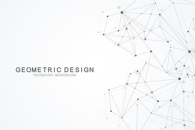Абстрактный фон многоугольной со связанными линиями и точками. минималистичный геометрический узор. структура молекулы и связь. графический фон сплетения. наука, медицина, концепция технологии.