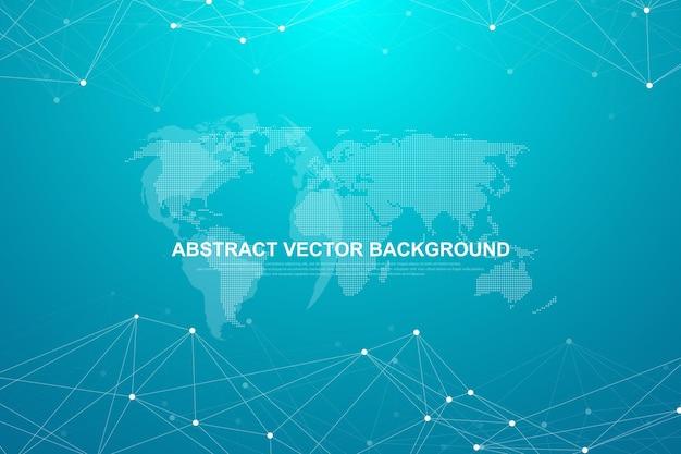 Абстрактный фон многоугольной со связанными линиями и точками. минималистичный геометрический узор. структура молекулы и связь. графический фон сплетения. наука, медицина, концепция технологии