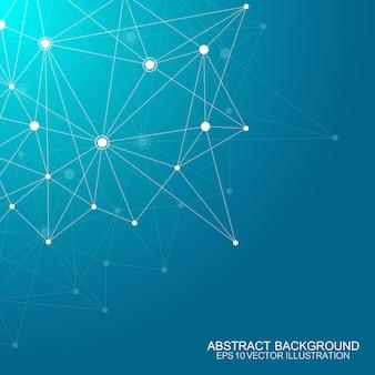 接続された直線と点と多角形の抽象的な背景。ミニマルな幾何学模様。分子構造とコミュニケーション。