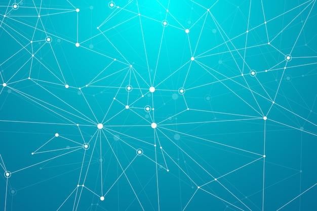 Абстрактный многоугольный фон с соединенными линиями и точками минималистичный геометрический узор молекулы ...