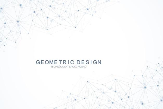 接続された線と点を持つ抽象的な多角形の背景