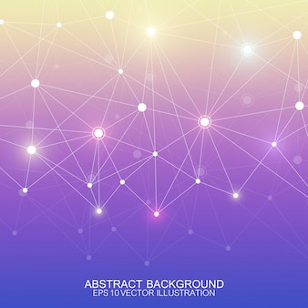 Abstract polygonal background with connected lines and dots. minimalistic geometric pattern. molecule structure and communication.