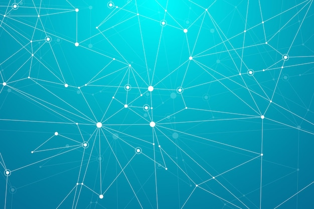 Abstract polygonal background with connected lines and dots minimalistic geometric pattern molecule ...