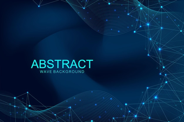 Abstract polygonal background with connected lines and dots. wave flow. molecule structure and communication. graphic plexus background. science, medicine, technology concept.