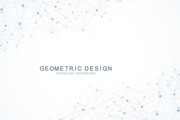 Abstract polygonal background with connected lines and dots