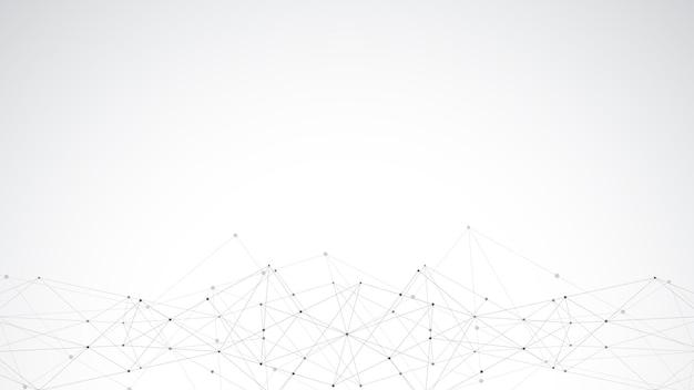 점과 선을 연결하는 추상 다각형 배경. 글로벌 네트워크 연결, 디지털 기술 및 통신 개념.