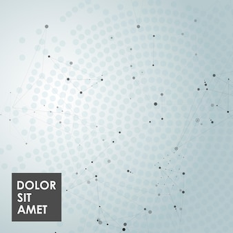 Abstract polygonal background with connecting dots, lines and place for text