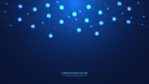Abstract polygonal background with connecting dots and lines