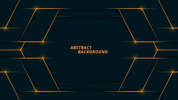 Abstract polygonal background with dark navy and orange light