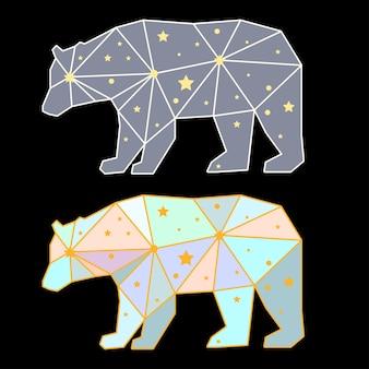 Абстрактный многоугольный медведь, изолированные на черном фоне. вид сбоку. футуристическая обложка, окрашенная в воображаемые цвета для использования в дизайне открытки, приглашения, плаката, плаката, баннера