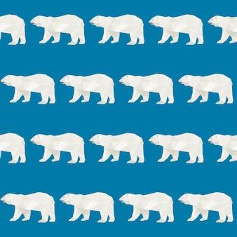 추상 다각형 곰 원활한 패턴 배경입니다. 파란색 표지에 고립 된 북극곰입니다.