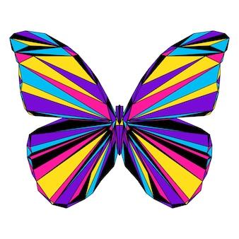 추상 다각형 나비 초상화입니다. 카드, 수의사 클리닉 플래카드, 현대 파티 초대장, 책, 포스터, 가방 프린트, 티셔츠 등을 위해 흰색으로 분리된 현대적인 낮은 폴리 나비