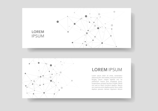Abstract polygonal connecting science banner set