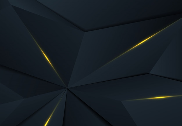 Abstract polygonal design of premium blue triangle with shadow and gold design background.