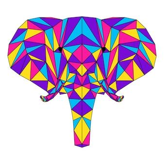 抽象的な多角形の象の肖像画。カード、獣医クリニックのプラカード、現代のパーティの招待状、本、ポスター、バッグプリント、tシャツなどのために白で隔離された現代の低ポリ象の頭。