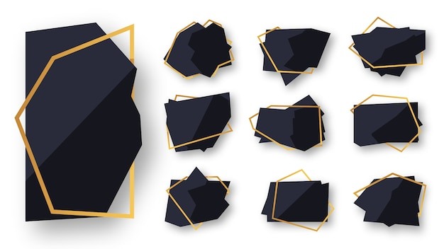 Abstract polygonal geometric black with gold line frame set. empty template for text. luxury decorative modern polyhedron frame isolated on white