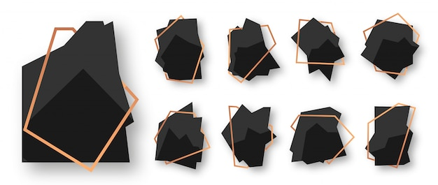 Abstract polygonal geometric black with rose gold line frame set. empty template for text. luxury decorative modern polyhedron frame isolated on white