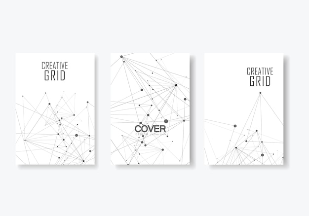 Abstract polygonal geometric poster set with molecule structure style.