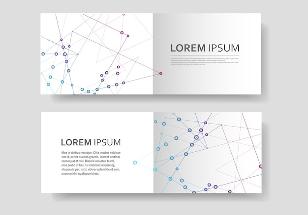 Abstract polygonal geometric shape with molecule structure style, connect lines and dots cover brochure