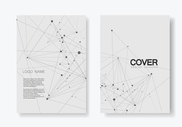Abstract polygonal geometric shape with molecule structure style. connect lines and dots cover brochure
